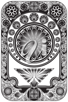 Decorative floral frame in retro style, art nouveau inspired illustration.