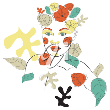 Decorative colorful abstract floral shapes and line art woman portrait, modern retro style.