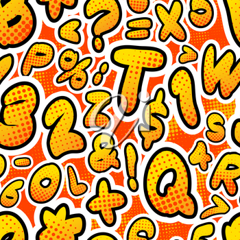 Bright colorful comics letters, seamless pattern on red