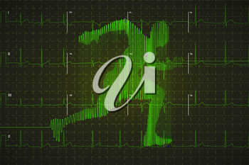 Bright green human electrocardiogram in running shape on dark monitor, healthy life concept illustration