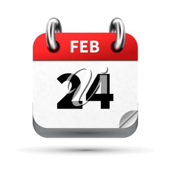 Bright realistic icon of calendar with 24 february date on white