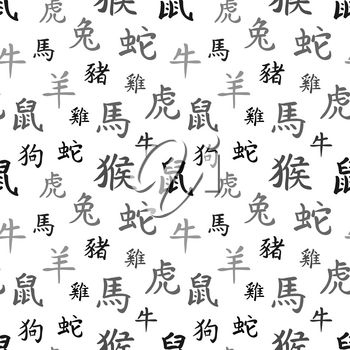 Chinese zodiac symbols, black hieroglyphs on white, seamless pattern