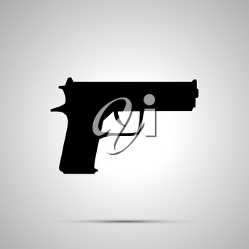 Gun silhouette, simple black icon with shadow