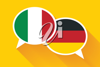 Two white speech bubbles with Italian and German flags. English language conceptual illustration.