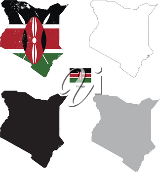 Kenya country black silhouette and with flag on background, isolated on white