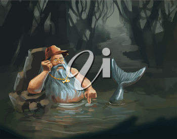 Old man mermaid character concept in water, cartoon illustration