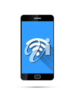 Realistic black smartphone with wifi icon on blue background, isolated on white