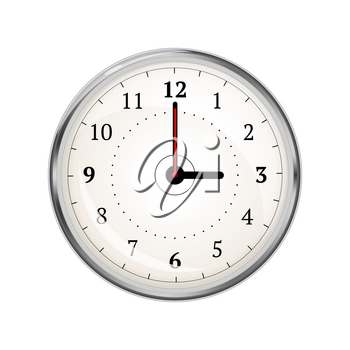 Realistic clock face showing 03-00 isolated on white