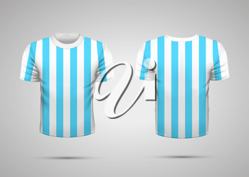 Realistic white sport t-shirt with blue stripes