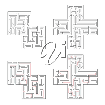 Two different complicated labyrinths with red path of solution isolated on white