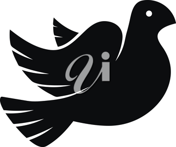 Stylized pigeon of peace black icon isolated on white