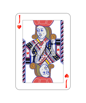 Jack of hearts playing card with on white