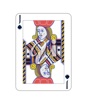 Jack of spades playing card with on white