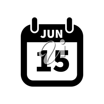 Simple black calendar icon with 15 june date on white