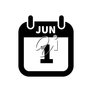 Simple black calendar icon with 1 june date on white