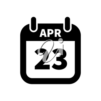 Simple black calendar icon with 23 april date on white