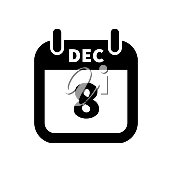 Simple black calendar icon with 8 december date on white