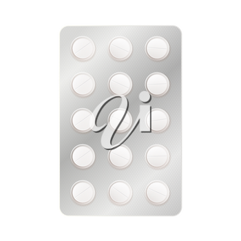 A lot of white round medicine pills in blister isolated on white
