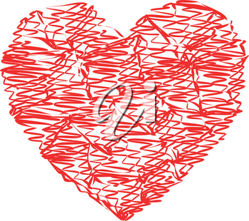 Heart red color with strokes art style