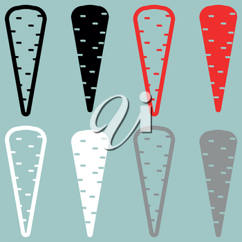 Carrot black red white grey icon set.