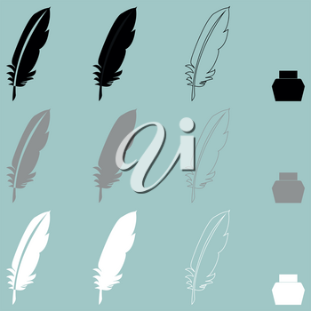 Feather and inkwell different icon set.