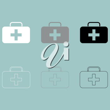 First aid set or medicine chest icon set.