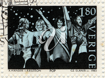 SWEDEN - CIRCA 1983. Vintage postage stamp issued by the Swedish Post to honor the pop music group Abba, circa 1983.