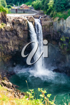 An illustration of cascading water at Snoqualmie Falls in Washington State.