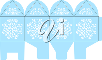 Birdcage favor box. Christmas gift box with snowflake for sweets. Elegant table decoration for a wedding, birthday, baby shower winter. Layout for laser cutting of paper in Moroccan, oriental style.