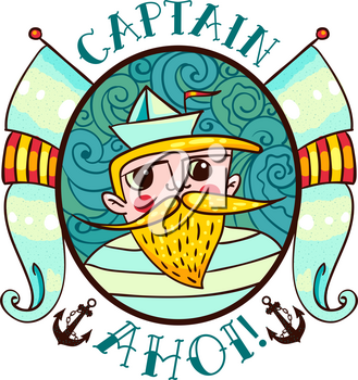 Seaman Illustration with a lighthouse in the style of an old tattoo. Lovable Captain Ahoi salty seas with a beard and mustache, paper boats and flags. Printing on T-shirt, bag, poster