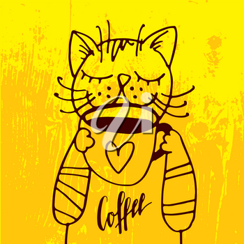 The cat is drinking a cup of coffee in the cozy yellow background. For the menu, coffee, tea, poster, print on t-shirt.