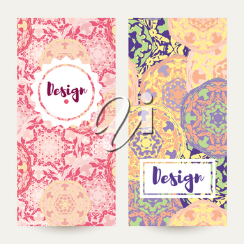 Templates banners set. Floral mandala pattern and ornaments. Oriental design Layout. Asian Arabic Indian ottoman motifs.