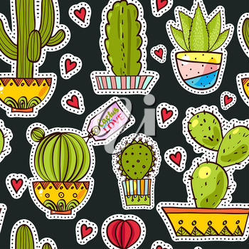 Fashion pop art seamless pattern with cactus. Cute, funny comics succulents in 80s, 90s. Texture for scrapbooking, wrapping paper, textiles, web page, textile wallpapers, surface design, fashion