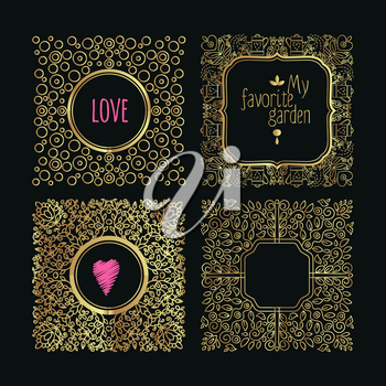 Collection of handdrawn gold laurels and wreaths. Floral wreath with copyspace for your text. Save the date, wedding or invitation card design element. Valentine card design template.