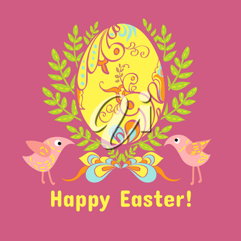easter egg in the leaves, flowers on a pink background, with a bow and birds