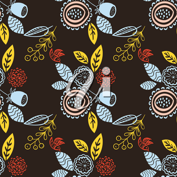 Seamless retro floral pattern on a dark background