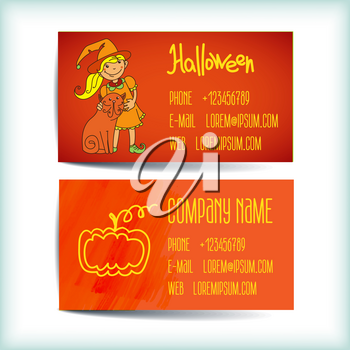 Set saturated modern business card template with witch, cat, pumpkin store horror
