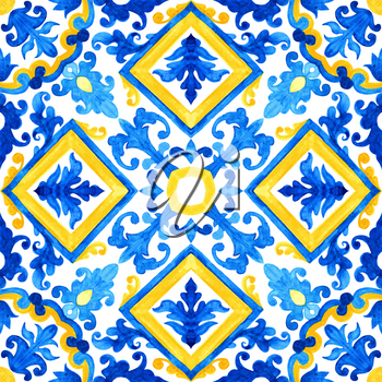Portuguese azulejo tiles. Gorgeous seamless patterns. For bathroom, pottery, scrapbooking, wallpaper, cases for smartphones, web background, print, surface texture, pillows, towels, linens bags T-shirts