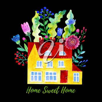 Home Sweet Home. Watercolor illustration of the house, flowers, berries and leaves. Print for t-shirt, poster