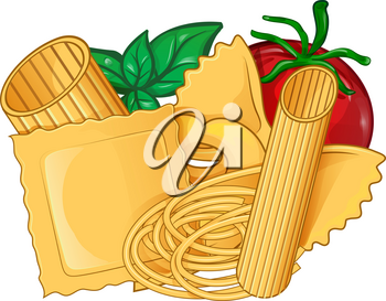 the real italian Pasta food with basil and tomato. vector illustration