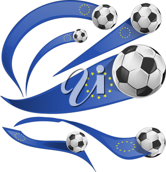 european flag element with soccer ball