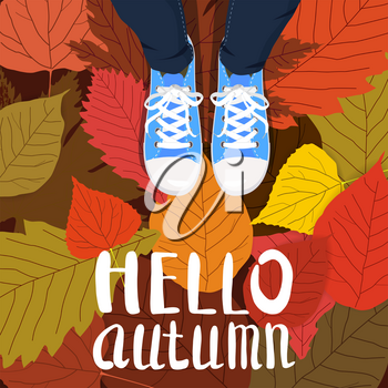 Hello autumn color illustration. Person feet standing in sneakers on yellow, red, green fallen leaves. Hand drawn lettering.