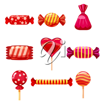 Set single cartoon candies, lollipop, candy. Illustration isolated on white