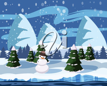 Winter cute landscape, snowman, christmas trees in the snow, river, mountains, vector illustration isolated