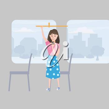 Girl teenager looks in smartphone table in cafe, background city, vector, illustration, cartoon style