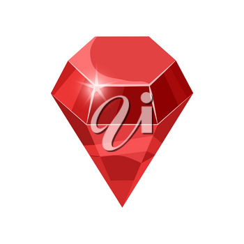 Diamond sparkling, shining red color isolated