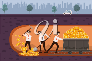 Cryptocurrency concept with businessmans miners and coins. Young men with jackhammer, shovel and pickaxe working in bitcoin mine, trolley with cryptocoins.