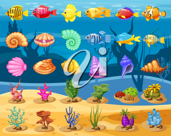 Cartoon Vector game icons with seashell, Colorful coral reef tropical fish, pearl, colorful corals and algae, underwater background, for match three game, apps on white background