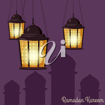 Ramadan Kareem holiday islam, illustrations with arabic lanterns