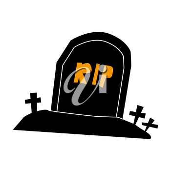 Tombstone rip grave flat single icon. Halloween symbol of fear and danger
